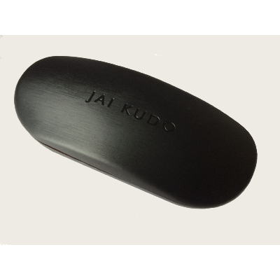 Jai Kudo Designer Spectacle Case ~ Satin Black & Red lining