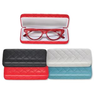 Feducci Rodeo Metal Spectacle Case. Quilted Look Faux Leather