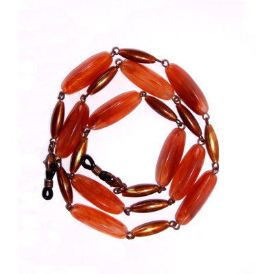HILCO LONG OVAL BEAD SPECTACLE CHAIN ~ 08/215/1000 Amber