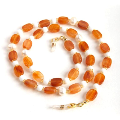 HILCO SEED BEAD & PEARL SPECTACLE CHAIN ~ 08/227/1000 Amber
