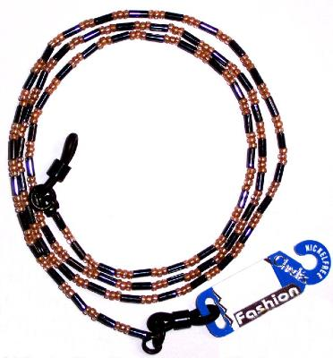 CHADES by URSULA GLASS BEAD SPECTACLE CHAIN ~ Electric Blue/Gold