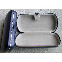 Large, Hard Plastic, Spectacle, Glasses Case in Dark Blue with Gold Trim.