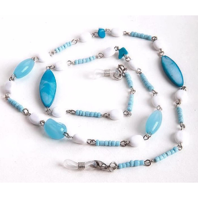 HILCO OVAL & SEED BEAD SPECTACLE CHAIN ~ 08/224/0000 Blue & White