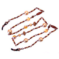 HILCO SEED BEAD & PEARL SPECTACLE CHAIN ~ 08/218/0000 Brown