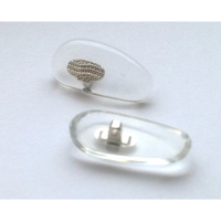 Hilco Clear Acetate Nose Pads with Metal Insert ~ 1x Pair 'D' Shape 20mm Silver
