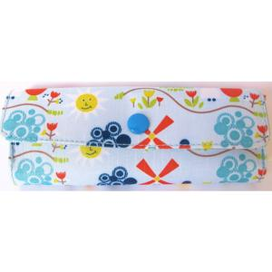 Blue Patterned, Fabric Covered, Soft Spectacle Case.