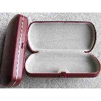 Large, Hard Plastic, Spectacle, Glasses Case in Dark Red with Gold Trim