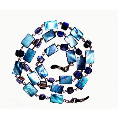 HILCO LUXURY BIG BEAD SPECTACLE CHAIN ~ 08/236/2000 Blue