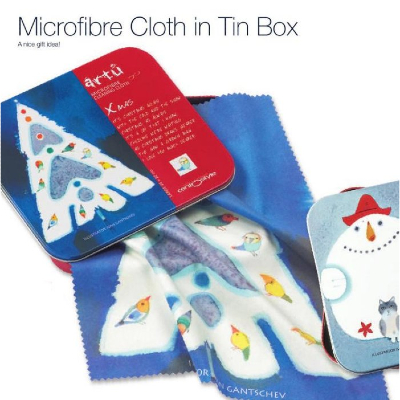 CentroStyle Christmas Tree Microfibre  Cloth in Tin Box ~ Perfect Stocking filler!