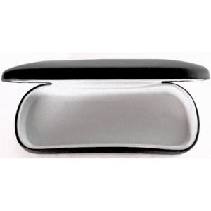 Black, Matte, Faux Leather, Metal Spectacle Case with fawn Lining.