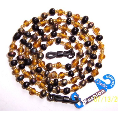 CHADES by URSULA GLASS BEAD SPECTACLE CHAIN, Glasses Holder ~ Amber / Black
