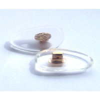 Hilco Clear Firm Silicone Nose Pads with Metal Insert ~ 1x Pair 'D' Shape 17mm Gold
