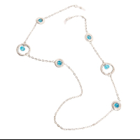 HILCO NORA COLLECTION SPECTACLE CHAIN ~ Beatrice Turquoise & Silver 08/400/2000